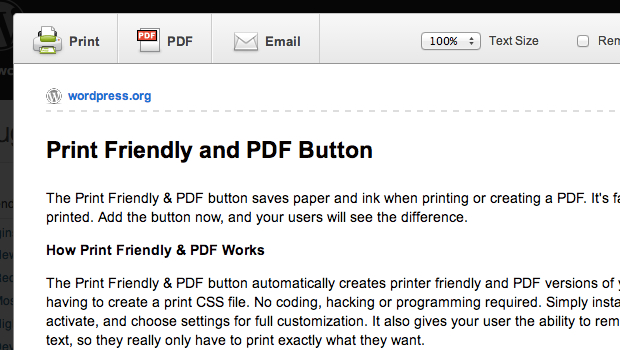 Print Friendly PDF Button