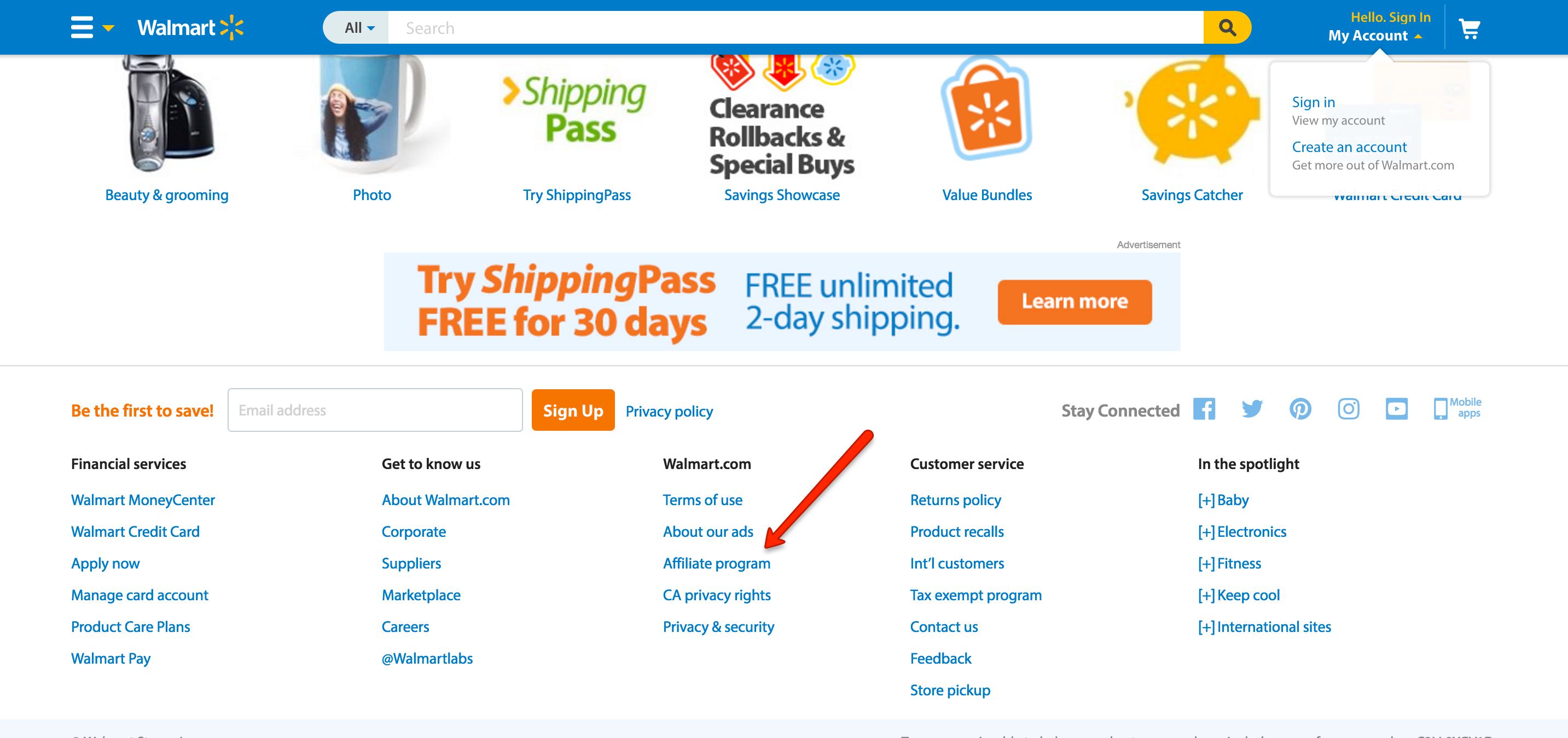 The Walmart footer with an affiliate program link